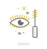 Λεπτά εικονίδια γραμμών, Mascara Στοκ φωτογραφίες με δικαίωμα ελεύθερης χρήσης