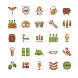Λεπτά εικονίδια γραμμών Oktoberfest καθορισμένα Στοκ φωτογραφία με δικαίωμα ελεύθερης χρήσης