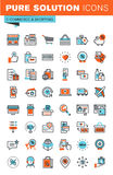 Λεπτά εικονίδια Ιστού γραμμών για το ηλεκτρονικό εμπόριο και τις αγορές Στοκ εικόνες με δικαίωμα ελεύθερης χρήσης