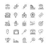 Λεπτά εικονίδια Ιστού γραμμών καθορισμένα - λούνα παρκ Στοκ Φωτογραφία