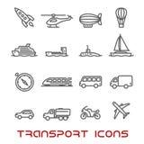 Λεπτά εικονίδια μεταφορών γραμμών καθορισμένα Στοκ εικόνες με δικαίωμα ελεύθερης χρήσης