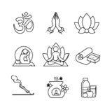 Λεπτά εικονίδια τέχνης γραμμών γιόγκας καθορισμένα διανυσματική απεικόνιση