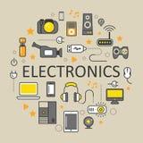 Λεπτά εικονίδια τέχνης γραμμών τεχνολογίας ηλεκτρονικής που τίθενται με τον υπολογιστή και τις συσκευές Στοκ εικόνα με δικαίωμα ελεύθερης χρήσης