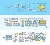 Λεπτά εμβλήματα έννοιας σχεδίου γραμμών επίπεδα για τη δημιουργική διαδικασία, το σχέδιο Ιστού και SEO