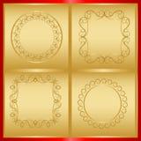 Λεπτά διακοσμητικά πλαίσια στο χρυσό Στοκ Εικόνες