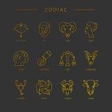 Λεπτά διανυσματικά zodiacal σύμβολα γραμμών Στοκ Εικόνα