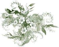 λεπτά λουλούδια grisaille απεικόνιση αποθεμάτων