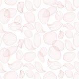 Λεπτά πέταλα λουλουδιών λωτού στο άσπρο υπόβαθρο Διανυσματικό άνευ ραφής σχέδιο περιλήψεων Στοκ Εικόνες