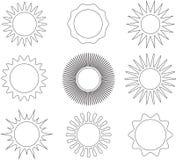 Λεπτά σύμβολα ήλιων ύφους γραμμών διανυσματική απεικόνιση