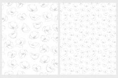 Λεπτά Floral επαναλαμβανόμενα διανυσματικά σχέδια γκρίζο και άσπρο σχέδιο διανυσματική απεικόνιση