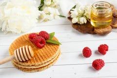 Λεπτές βελγικές βάφλες με το μέλι και τα σμέουρα Λουλούδια της Jasmine και ένα βάζο του μελιού σε ένα ελαφρύ ξύλινο υπόβαθρο Στοκ Φωτογραφία