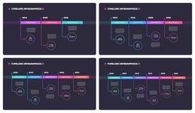 Λεπτές ελάχιστες infographic έννοιες υπόδειξης ως προς το χρόνο γραμμών με 3 4 5 και 6 απεικόνιση αποθεμάτων