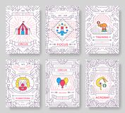 Λεπτές κάρτες φυλλάδιων γραμμών τσίρκων καθορισμένες Παραδοσιακό πρότυπο φεστιβάλ flyear, περιοδικά, αφίσες, κάλυψη βιβλίων, εμβλ Στοκ φωτογραφίες με δικαίωμα ελεύθερης χρήσης