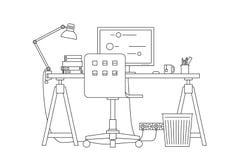 Λεπτή απεικόνιση γραμμών εργασιακών χώρων Στοκ φωτογραφίες με δικαίωμα ελεύθερης χρήσης