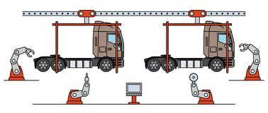 Λεπτή γραμμή συνελεύσεων φορτηγών ύφους γραμμών Αυτόματος μεταφορέας παραγωγής μεταφορών διανυσματική απεικόνιση