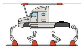 Λεπτή γραμμή συνελεύσεων φορτηγών ύφους γραμμών Αυτόματος μεταφορέας παραγωγής μεταφορών ελεύθερη απεικόνιση δικαιώματος
