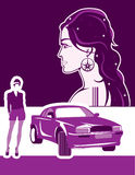 Λεπτή γυναίκα και ένα αυτοκίνητο απεικόνιση αποθεμάτων