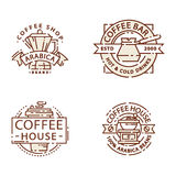 Λεπτή εγγραφή γραμμών τροφίμων διακριτικών καφέ για το εστιατόριο, το σπίτι καφέ επιλογών καφέδων και το διάνυσμα αυτοκόλλητων ετ Στοκ εικόνα με δικαίωμα ελεύθερης χρήσης
