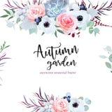 Λεπτή κάρτα σχεδίου γαμήλιων εποχιακή λουλουδιών διανυσματική διανυσματική απεικόνιση