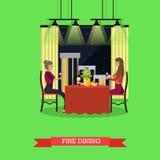 Λεπτή να δειπνήσει διανυσματική απεικόνιση έννοιας στο επίπεδο ύφος Στοκ φωτογραφία με δικαίωμα ελεύθερης χρήσης
