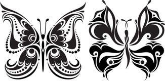 Λεπτή σκιαγραφία πεταλούδων Σχέδιο των γραμμών και των σημείων Συμμετρική εικόνα Στοκ Εικόνα