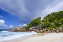 Λεπτοκαμωμένη παραλία Anse, Σεϋχέλλες Στοκ Φωτογραφία