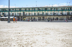 Λεπτομέρεια άμμου του κύριου τετραγώνου στην πόλη Chinchon, Ισπανία Στοκ Εικόνες