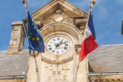 Λεπτομέρεια αρχιτεκτονικής του Δημαρχείου Noirmoutier, Γαλλία με Στοκ εικόνα με δικαίωμα ελεύθερης χρήσης
