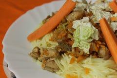 Λεπτομέρεια λαχανικών πουλερικών νουντλς ρυζιού Στοκ φωτογραφία με δικαίωμα ελεύθερης χρήσης
