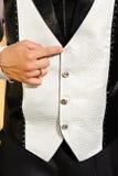 Λεπτομέρεια γαμήλιων κοστουμιών με χαμένος buttom Στοκ φωτογραφίες με δικαίωμα ελεύθερης χρήσης