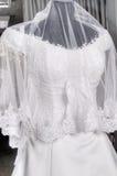 Λεπτομέρεια ενός γαμήλιου φορέματος σε ένα μανεκέν Στοκ Εικόνα
