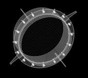 Λεπτομέρεια εφαρμοσμένης μηχανικής στο μαύρο υπόβαθρο Στοκ Φωτογραφία