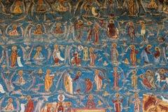Λεπτομέρεια ζωγραφικής στην εκκλησία Voronet Στοκ Εικόνες