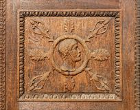 Λεπτομέρεια μιας λεπτής ξύλινης γλυπτικής Στοκ Φωτογραφίες