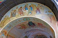 Λεπτομέρεια μιας τοιχογραφίας στον τοίχο του μοναστηριού Lavra τριάδας RU Στοκ Φωτογραφία