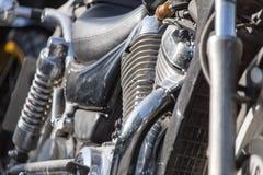 Λεπτομέρεια μοτοσικλετών μεταλλική μηχανή μοτοσικλετών Στοκ Εικόνες