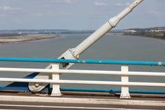 Λεπτομέρεια οικοδόμησης του ιδρύματος Pont de Normandie, φράγκο καλωδίων Στοκ Εικόνες
