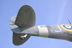 Λεπτομέρεια ουρών του αεροπλάνου Spitfire Στοκ Εικόνα