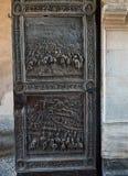 Λεπτομέρεια πορτών χαλκού Castel Nuovo, Maschio Angioino της Νάπολης Στοκ εικόνες με δικαίωμα ελεύθερης χρήσης