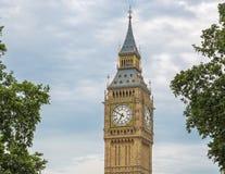 Λεπτομέρεια που βλασταίνεται του Big Ben με τα δέντρα, Λονδίνο, UK Στοκ Εικόνα