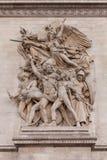 Λεπτομέρεια που πυροβολείται των διακοσμητικών γλυπτών στην αψίδα του θριάμβου, Παρίσι Γαλλία Στοκ Εικόνα