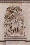 Λεπτομέρεια που πυροβολείται των διακοσμητικών γλυπτών στην αψίδα του θριάμβου, Παρίσι Γαλλία Στοκ Εικόνες
