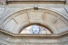 Λεπτομέρεια προσόψεων εκκλησιών με το πρόσωπο Χριστού στοκ εικόνες