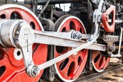 Λεπτομέρεια ροδών μιας ατμομηχανής τραίνων ατμού Στοκ εικόνα με δικαίωμα ελεύθερης χρήσης