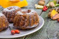 Λεπτομέρεια στα κέικ κολοκύθας με το ξύλο καρυδιάς, το ροδαλό ισχίο και τα φύλλα φθινοπώρου Στοκ Φωτογραφία