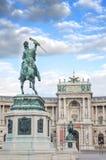 Λεπτομέρεια στον αυτοκράτορα Joseph ΙΙ γλυπτών στο αυτοκρατορικό παλάτι της Βιέννης Hofburg, είσοδος στην ηλιόλουστη ημέρα στη Βι Στοκ φωτογραφία με δικαίωμα ελεύθερης χρήσης
