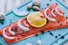 Λεπτομέρεια της ακατέργαστης λωρίδας ψαριών σολομών με τα καρυκεύματα λεμονιών και τα φρέσκα χορτάρια Στοκ εικόνες με δικαίωμα ελεύθερης χρήσης