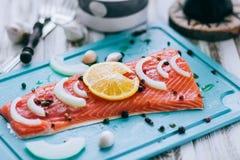Λεπτομέρεια της ακατέργαστης λωρίδας ψαριών σολομών με τα καρυκεύματα λεμονιών και τα φρέσκα χορτάρια Στοκ Εικόνες