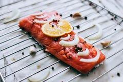 Λεπτομέρεια της ακατέργαστης λωρίδας ψαριών σολομών με τα καρυκεύματα λεμονιών και τα φρέσκα χορτάρια Στοκ φωτογραφία με δικαίωμα ελεύθερης χρήσης