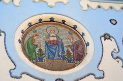 Λεπτομέρεια της εικόνας θρησκείας στο μπλε churche στο κέντρο της Μπρατισλάβα Σλοβακία Στοκ φωτογραφία με δικαίωμα ελεύθερης χρήσης